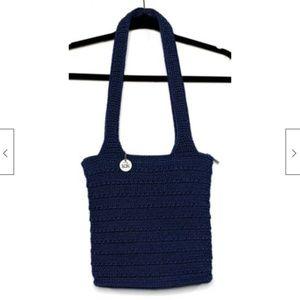 THE SAK Woven Crochet Shoulder Handbag Navy Purse